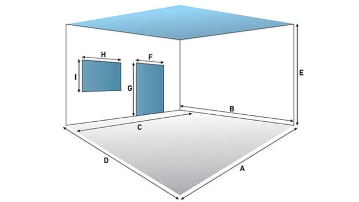 Calcul des surfaces de mur et de plafond