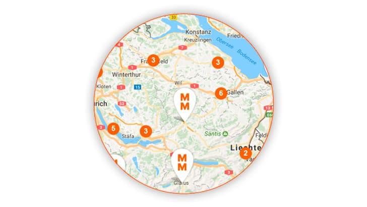 Kartenausschnitt Filialfinder Migros Ostschweiz