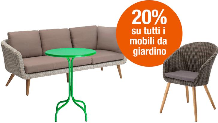 20% su tutti i mobili da giardino
