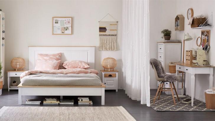 Idée pour l'habitat: chambre à coucher avec espace de travail intégré