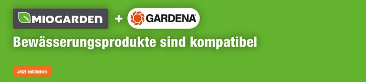 Miogarden + Gardena Bewässerungsprodukte sind kompatibel